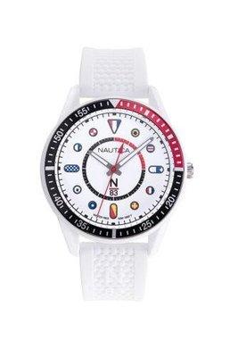 Nautica 男士手錶 NAPSPS905 Surf Park 43毫米 白色錶盤 矽膠手錶