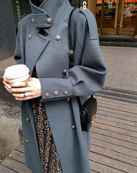 ◎緹蕾雅◎高級訂製設計款韓版寬鬆多穿法立領雙排扣拼接金貝呢大衣綁帶外套實拍/蕾絲口罩韓羊毛羽絨針織外套收納保護貼/現+預