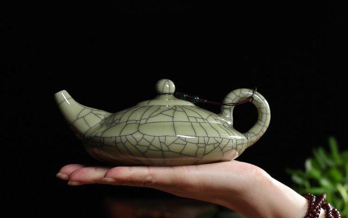 青瓷 哥窯金絲鐵線茶壺 陶瓷 冰裂紋大號功夫茶具泡茶壺 單壺