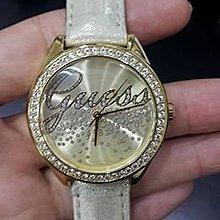 永達利鐘錶 GUESS 金殼鑽框 皮帶錶 35mm 原廠公司貨 保固一年 GWW75063L1
