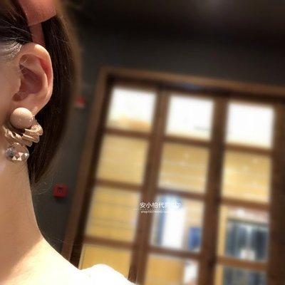 宏美飾品館~安小柏 韓國進口東大門正品氣質復古亞克力寶石緞帶耳釘耳環