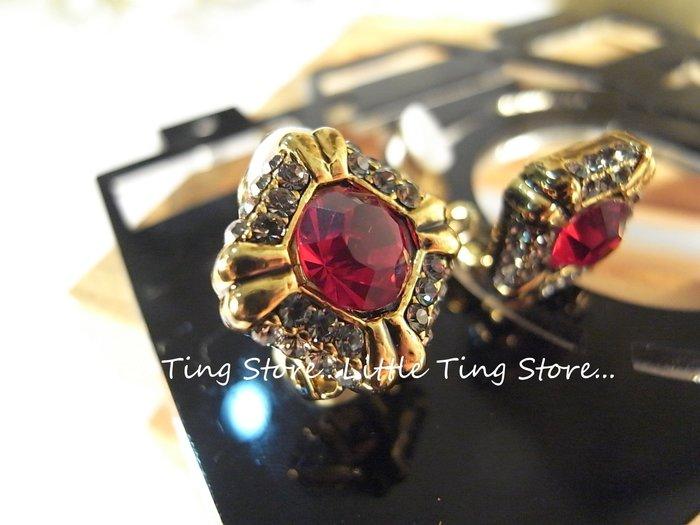 拜金女王奧地利施華洛世奇水鑽古銅金菱型方塊紅寶石色鑽貼耳夾式耳環夾貼耳飾或耳針款