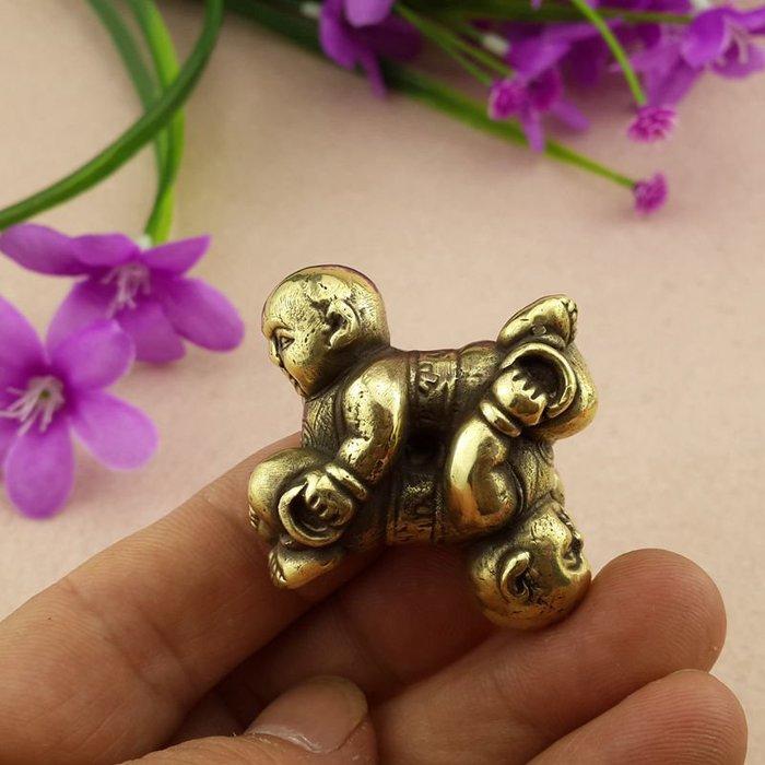 收藏 精煉黃銅打造 四喜娃掛件 特價促銷