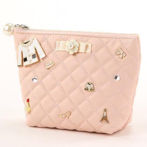 *姑姑熊*~日本帶回。粉紅色化妝包雜物袋。質感佳!