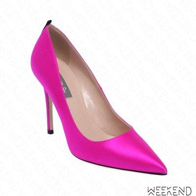 【WEEKEND】 Sarah Jessica Parker SJP Fawn 緞面 高跟鞋 桃紅色