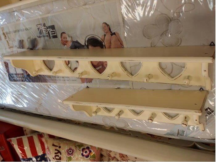 美生活館--- 全新 南歐風格 刷舊白實木五心壁架/掛勾/杯架