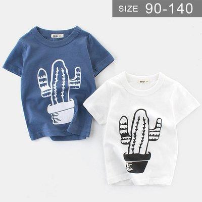 男童短袖T恤。ROUROU童裝。夏男童中小童100%棉仙人掌圓領短袖T恤 0121-437
