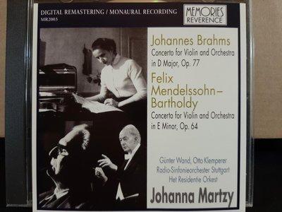 Martzy,Wand·Klemperer, Brahms&Mendelssohn-V.c,瑪特姬小提琴,汪德·克倫培勒指揮演繹布拉姆斯&孟德爾頌小提琴協奏曲。