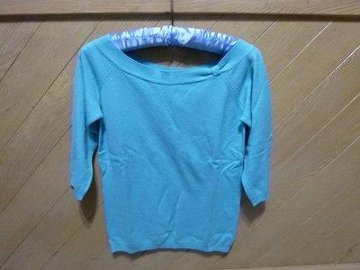 ☆☆現貨在台 免國際郵資唷☆西班牙Zara 水藍色船型領五分袖針織線衫☆☆