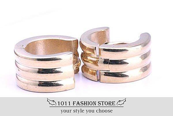 【 1011 精品小舖 】韓國 男性 女性 西德鋼 / 鈦鋼 鍍金 磨砂 耳環 / 耳扣 不鏽鋼耳環
