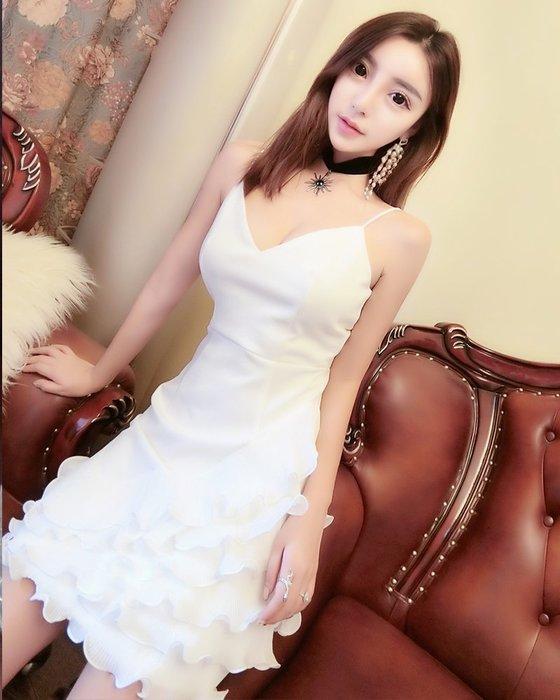 Nie Sansa 預購 氣質名媛款細肩帶性感V型大露背不規則荷葉裙襬造型洋裝小禮服晚宴服S-L