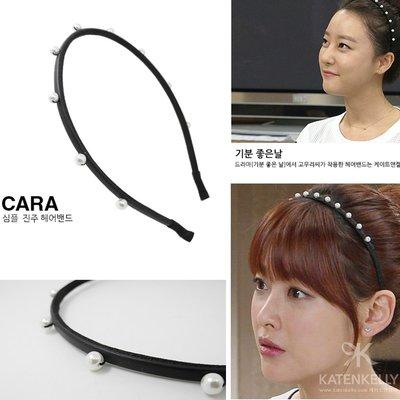 特價【韓Lin代購】韓國 KATENKELLY 白色珍珠細版黑色髮箍 CARA PEARL DECOR