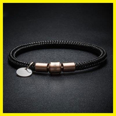 防水5mm進口鋼絲手繩手鍊男 穿大孔3D硬金飾品黃金轉運珠皮繩紅繩