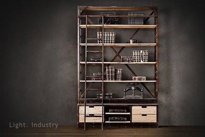 【 輕工業 】復古階梯款抽屜實木鐵架書櫃-可訂製訂做定作 師裝潢餐廳工業風荷蘭船廠梯子末日書架黑鐵原木板置物架衣櫃