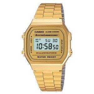 CASIO卡西歐金色復刻版復古潮流金錶方型數位電子錶中性男女可戴(A-168WG - 9 W)