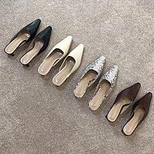 Jensbsh~SuoMi -韓國東大門穆勒鞋女2020春季新款方頭復古蛇紋粗跟半拖鞋