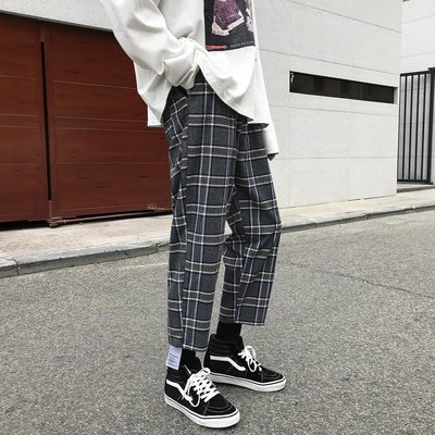Chita Man + 韓系工裝 格紋網紅 闊腿寬褲