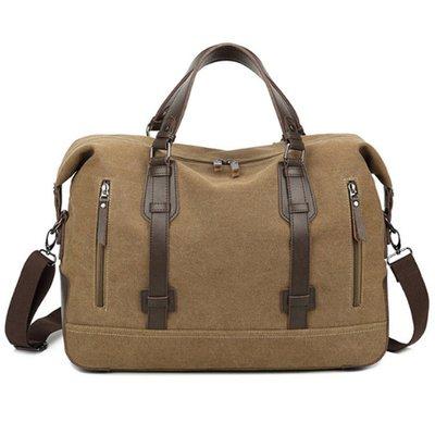 ☆Tide man☆ 18BAOK0823 新款男士咖啡色帆布包 帆布單肩手提電腦包 外貿休閒箱包
