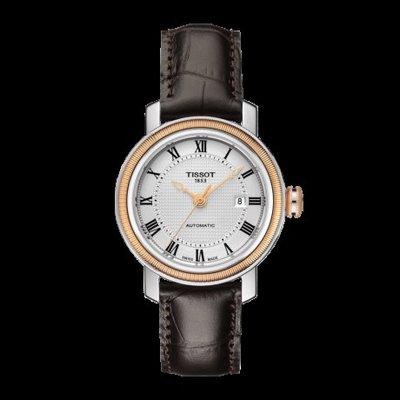 Tissot 天梭港灣系列皮帶機械女腕錶 T0970072603300