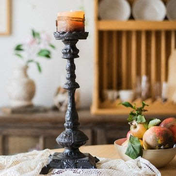 鑄鐵製 歐風花紋裝飾 1頭蠟燭台 桌上高腳1格蠟燭檯 懷舊復古造型金屬質感燭台 浪漫婚禮布置擺飾燭檯 居家裝飾 單頭燭台