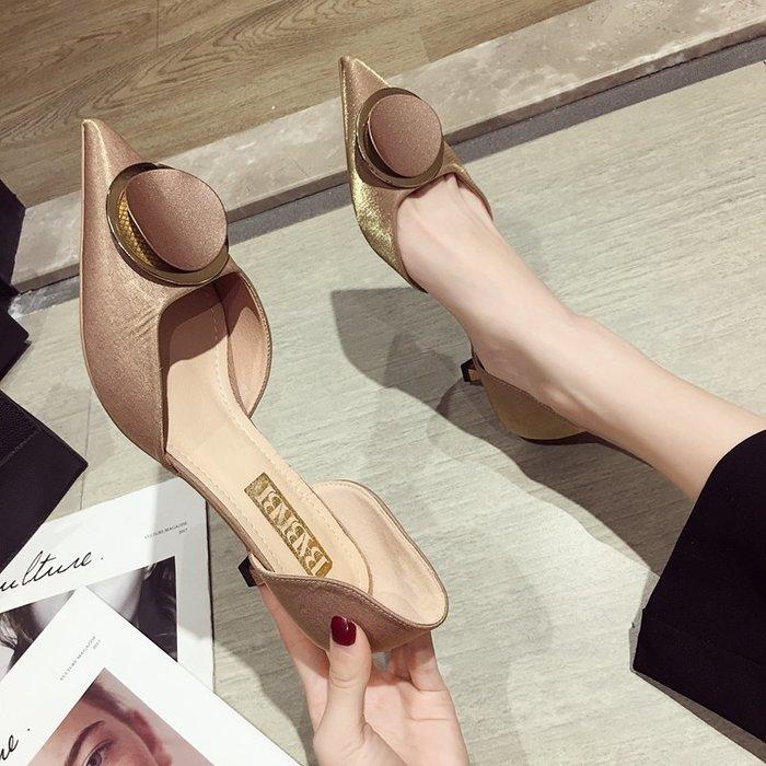 小尤家~高跟鞋女春款韓版尖頭細跟性感單鞋女法式少女百搭網紅貓跟鞋