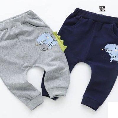 全館滿699免運【MONKEY BABY 】恐龍圖案造型束口長褲2色可選(7920)