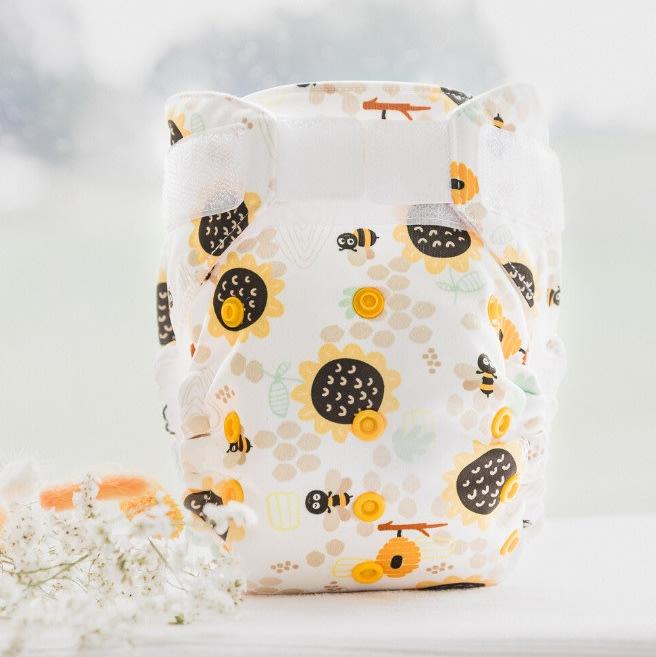 2合1全方位防水環保布尿布 AI2 (4-20公斤)-向日葵蜂蜜 /超極簡/Baby BeeHinds【兔寶寶部屋】