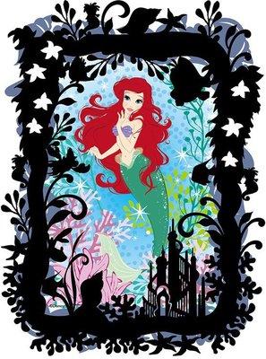 日本正版拼圖 迪士尼 公主 小美人魚 愛麗兒 附框及剪紙 70片透明塑膠拼圖,YAM-97-171
