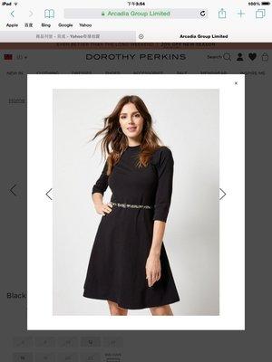 全新有吊牌 英國品牌 DOROTHY PERKINS大尺碼黑色5分袖96%棉 cotton 及膝洋裝  UK20號