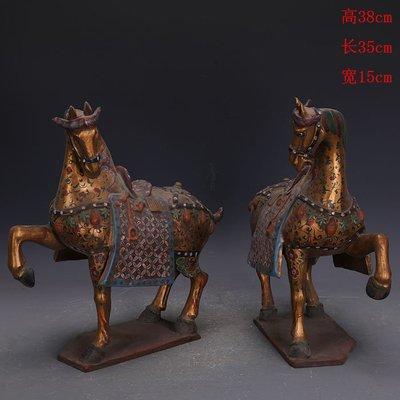 ㊣三顧茅廬㊣   唐三彩雕塑瓷金地彩繪提足馬一對出土文物   古瓷古玩古董收藏擺件
