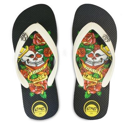 QWQ男款天然橡膠夾腳拖- 雙頭愛款 黑色 防滑軟Q好穿鞋帶保固 阿法.伊恩納斯