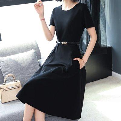 洋裝 連身裙女2019夏裝新大碼顯瘦減齡小黑裙冷淡風氣質簡約修身打底裙 黑色S-3XL【芳草居】