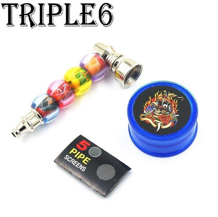 ?【Triple6】?免運 金屬 彈珠 造型煙斗 研磨器 濾網 套裝組合