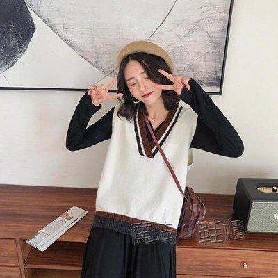 韓版chic學院風撞色V領毛衣馬甲女套頭慵懶風寬鬆針織背心  『』