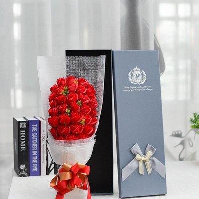 33朵香皂花束禮盒,不凋謝的玫瑰花-全紅色玫瑰款