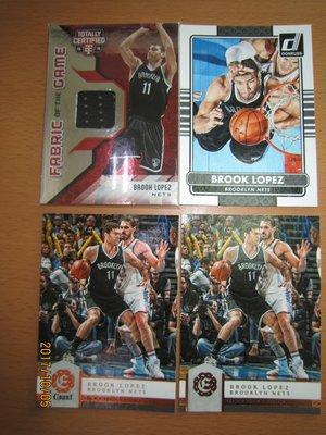 網拍讀賣~Brook Lopez~湖人隊球星~羅培茲~限量球衣卡/199~普特卡~共4張~150元~輕鬆付~非常少見~~