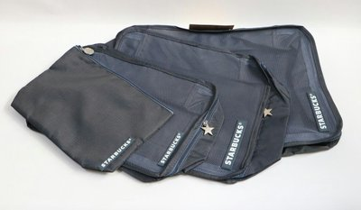 天使熊雜貨小舖~starbucks 星巴克旅行收納袋四件組  深灰色  全新現貨