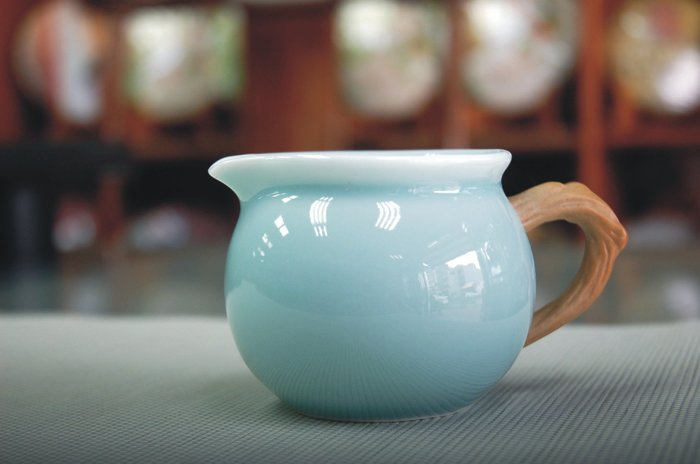 粉青《仿木把公道杯》茶道品茗瓷器 茶海 分茶器【聚寶堂】