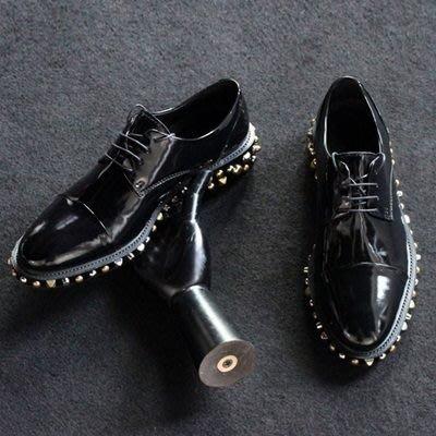 休閒皮鞋 真皮鉚釘繫帶鞋-個性龐克純色油面男鞋73kv21[獨家進口][巴黎精品]