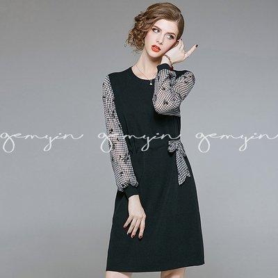GEMYIN【歐美設計平價女裝】千鳥格花葉透視針織洋裝 (預購) 原創精品
