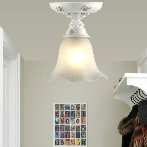 5Cgo【燈藝師】含稅會員有優惠41380927303 陽台吸頂燈時尚美式單頭走廊走道過道燈小吸頂燈燈具樹脂玻璃燈罩白色