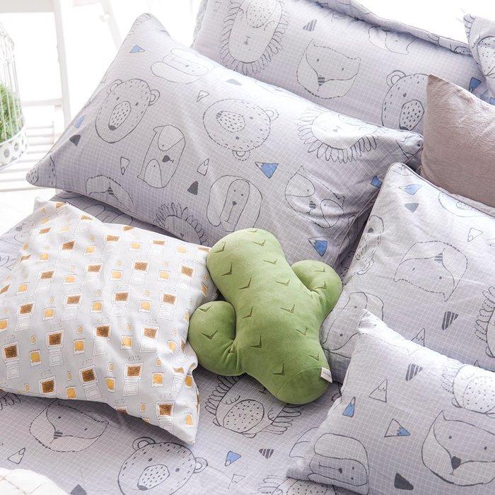【OLIVIA 】DR350 動物躲貓貓 灰 美式薄枕套【兩件 】 品牌童趣系列