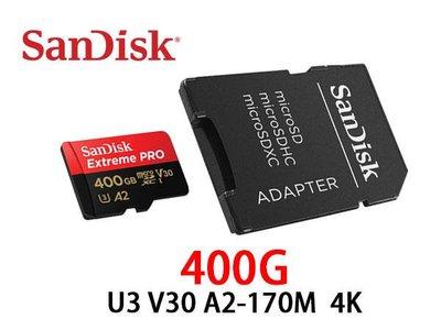 「ㄚ秒市集」Sandisk MicroSDXC TF Extreme Pro 400G U3 A2 170M 記憶卡