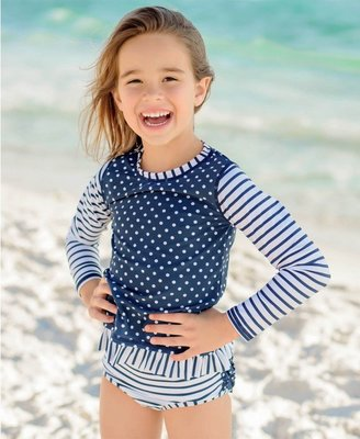 【現貨】Qutie.B ❤ 美國 RuffleButts ❤ 海軍條紋點點荷葉邊兩件式長袖泳裝  寶寶防曬泳衣