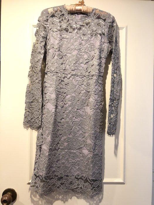 類Valentino 高級蕾絲藕色長洋裝 背有緞面蝴蝶結