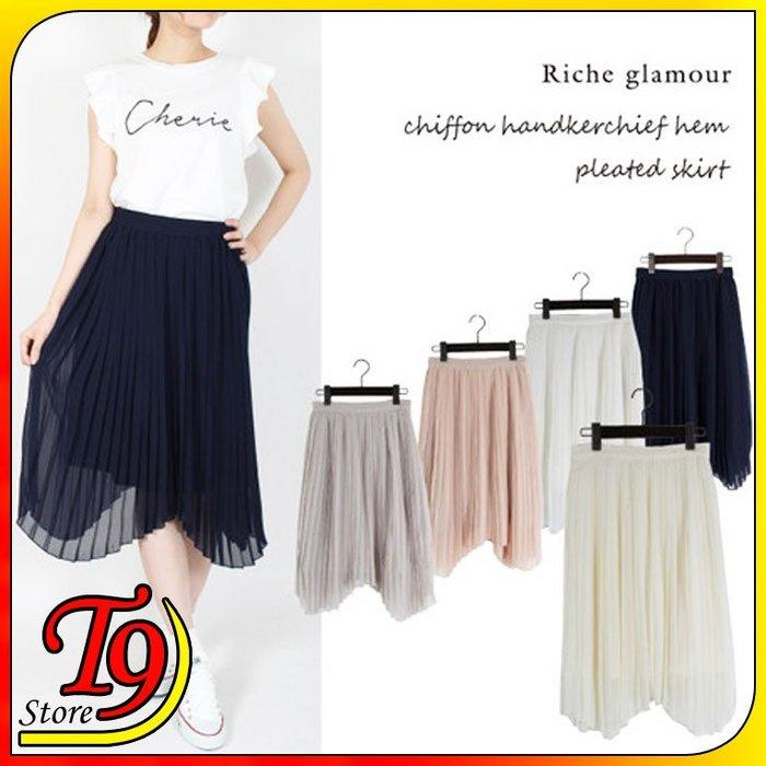 【T9store】日本進口 雪紡下擺手帕百褶裙