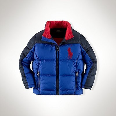 【Polo Ralph Lauren】RL 小男童 羽絨外套 連帽外套 刺繡大馬 保暖防風夾克 深藍色/寶藍色拼接