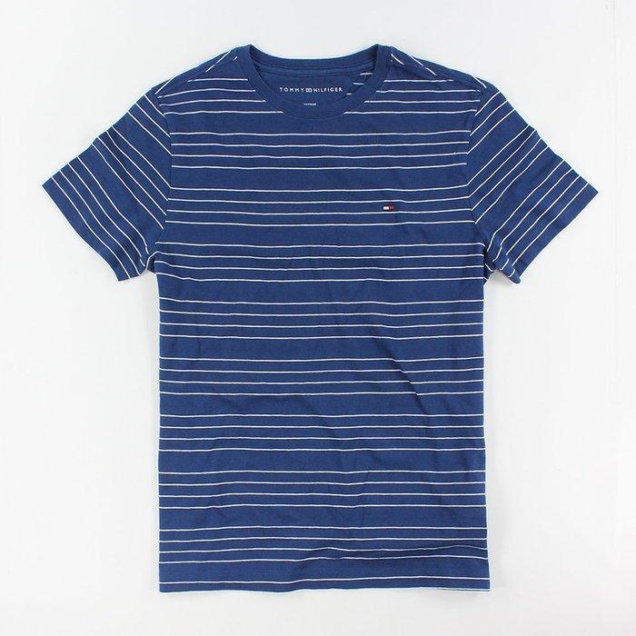 美國百分百【Tommy Hilfiger】T恤 TH 男款 V領 T-shirt 短袖 藍 白 條紋 上衣 S G446
