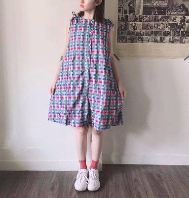SeyeS 日系甜美自然風粉嫩春色格紋綁結無袖洋裝