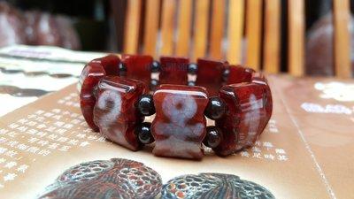 西藏天珠材質圖騰瑪卡石手排 天然純淨老礦新採 磁場乾淨 能量強【東大開運館】